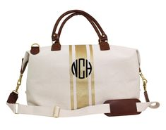 Personalized Canvas Weekender With Gold Stripes
