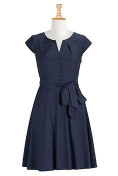 Navy & black , side zip, waist need altering.  $39 12/2/13 ALady Chateau cotton poplin dress from eShakti