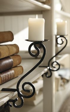 candle holders, shelf decor