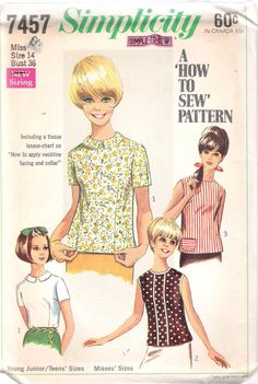 """Simplicity 7457 Vintage 1960's """"Simple to Sew"""" Misses' Blouse in Three Styles UNCUT; Size 14, Bust 36 by ComeSeeComeSew on Etsy https://www.etsy.com/listing/224093229/simplicity-7457-vintage-1960s-simple-to"""