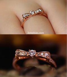 stunning rose gold plated silver CZ bow fashion ring http://www.jewelsin.com/p-2016-new-delicate-sparkle-cubic-zirconia-bow-ring-1482