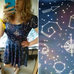 Little bit in love with this constellation dress from @cakeswithfaces 😍  They are all cake related, it's brilliant, think my favourite is the Swiss roll nebula! 😜  . . . .   #saturday #cakeswithfaces #constallation #dress #ootd #wiwt #outfitoftheday #outfit #star #galaxy #😍