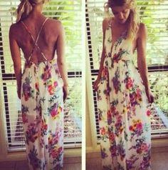 Multicolor Floral Shoulder-Strap Cross Back Bohemian Maxi Dress