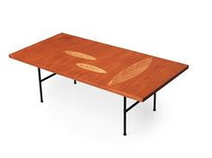 A Tapio Wirkkala laminated plywood sofa table, Asko Oy, Finland ca 1958, model 9015. Inlays of leaves and ovals in different woods, iron base. Stamped TAPIO WIRKKALA ASKO MADE IN FINLAND. 124 x 62 cm, height 41 cm
