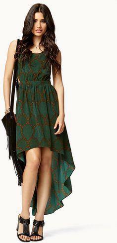 Forever 21 Green Reverie Highlow Dress