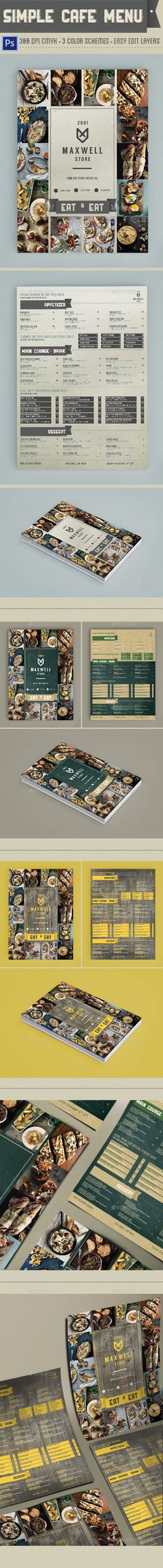 Simple Cafe Menu Template #design Download: http://graphicriver.net/item/simple-cafe-menu/12418396?ref=ksioks