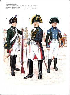 Hessen-Darmstadt 1_3rd light Infantry bataillon 1790 2_Lieutnant Artillery 1792 3_FUSILLIER-Bataillon Brigade Landgraf 1803