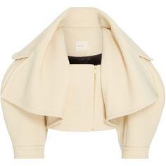 Wide Lapel Jacket   Moda Operandi (61,315 MXN) ❤ liked on Polyvore featuring outerwear, jackets, brown cropped jacket, long sleeve jacket, long sleeve crop jacket, cropped jacket and brown jacket