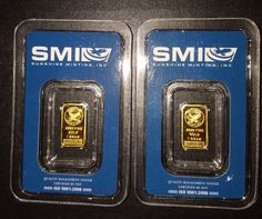 Lot of 2 - 1 gram GOLD bars from Sunshine Minting Inc.(SMI) in assay packaging Sunshine, Packaging, Mint, Bar, Gold, Wrapping, Peppermint
