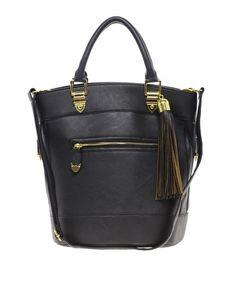 Image 1 ofRiver Island Black Tassel Bucket Bag