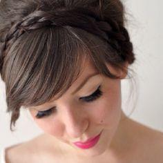 Braided headband with side swept bangs