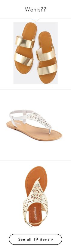 """""""Wants😩💞"""" by autumnjanae ❤ liked on Polyvore featuring shoes, sandals, momma shoes, gold, metallic flats, gold strappy sandals, metallic sandals, open toe sandals, gold flat shoes and white"""