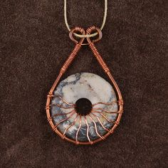 Wire Wrapped Agate Donut Pendant/Necklace by SerenityWoodsCrafts Wire Jewelry Making, Wire Wrapped Jewelry, Wood Necklace, Pendant Necklace, Washer Bracelet, Wire Art Sculpture, Wire Jewelry Designs, Wire Weaving, Copper Jewelry