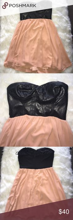 *50% OFF BUNDLES* Black and pink strapless dress Black faux leather snakeskin top with peach rose bottom. Dresses Strapless