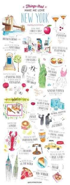 Things that make me love New York - Travel Illustration on Behance Nathalie Oued. Dinge, die mich New York lieben lassen - . New York Travel, Travel Usa, Travel Packing, Travel Maps, Vacation Travel, Travel Luggage, Japan Travel, Italy Travel, London Travel Guide