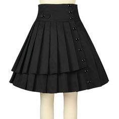 Chic Star Pleated Skirt - Black