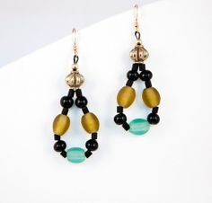 Blue Black Earrings Yellow Hoop Earrings by LLDArtisticJewelry, $10.00