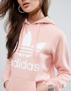 adidas Originals Pink Trefoil Boyfriend Hoodie $65