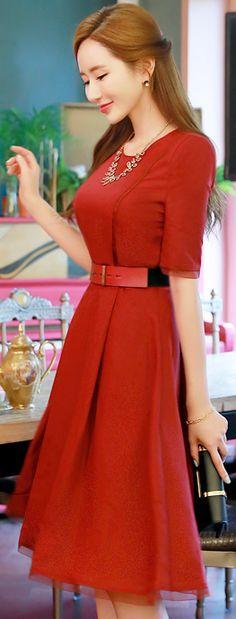 Styleonme_Short Sleeve Belted Linen Flared Dress #red #flared #dress #elegant #koreanfashion #kstyle #kfashion #summerlook #dress