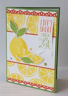 Stampin Up Lemon Zest bundle with the Decorative Ribbon punch Lemon Images, Scrapbook Cards, Scrapbooking, Food Cards, Lemon Slice, Stamping Up Cards, Teacher Appreciation Gifts, Recipe Cards, Diy Cards