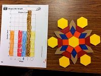 Kids create a design using pattern blocks, then graph the number of each block they used.