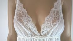 Vintage Babydoll Nightie White Nylon Negligee 1980s Very Sheer Vintage Lingerie Size Medium 80s Lace Nightgown Made in USA Tres Chic by RadicalMaudVintage on Etsy