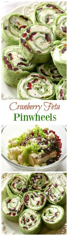 Cranberry Feta Pinwheels: a sweet and salty combo that's perfect for a Christmas appetizer. the-girl-who-ate-...