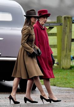 Kate, 34, looked chic in a rather pricey £1,541 designer coat by Sportmax as she arrived at St Mary Magdalene Church with Prince Philip, the Queen, Prince William and the Middleton family.