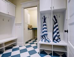 Beach house mudroom with blue and white decor. Beach house mudroom with blue and white checkered floors. Tiled Hallway, Hallway Flooring, Wood Flooring, Restoration Hardware Table, Popular Paint Colors, Black And White Tiles, Interior Paint Colors, Construction, Luxury Interior Design