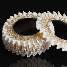 Bangle de la court by Julie Impens. A ruffle bangle made with Venetian silk.