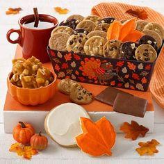 Thanksgiving Gift Baskets - Mrs. Fields Autumn Crate Mrs Fields, Fall Treats, Thanksgiving Gifts, Gift Baskets, Crates, Autumn, Food, Sympathy Gift Baskets, Fall Season