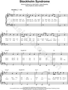 "One Direction ""Stockholm Syndrome"" Sheet Music (Easy Piano) - Download & Print"