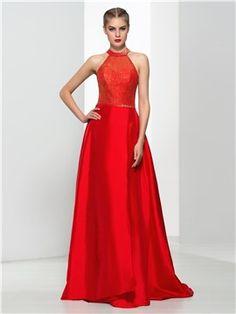 4acf51596 Ericdress A-Line cabestro rebordear de las lentejuelas Vestido largo de fiesta  Comprar Vestidos De