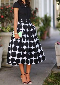 Full patterned tea length skirt