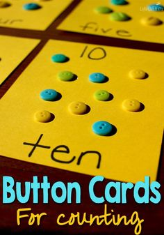 Make some fun button counting cards for a tactile way to practice counting with your preschoolers! A great, hands-on way to learn numbers! Craft Activities For Toddlers, Preschool Arts And Crafts, Preschool Centers, Counting Activities, Preschool Learning Activities, Math For Kids, Kindergarten Math, Fun Math, Math Games
