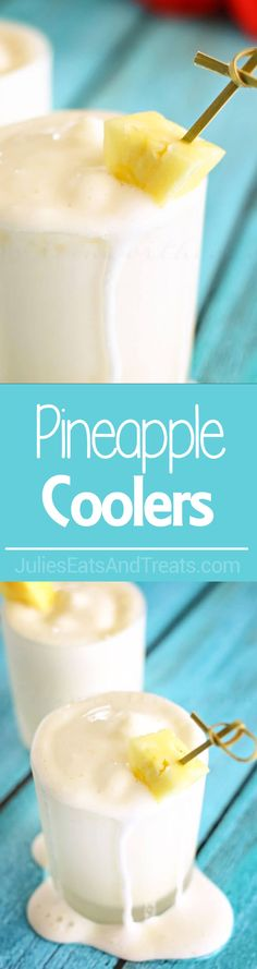 Pineapple Cooler ~ Cool, Sweet & Creamy Dessert Drink Recipe Perfect for Hot Summer Days! ~ http://www.julieseatsandtreats.com