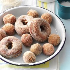 Apple Cider Doughnuts Recipe -Cake doughnuts remind me of family trips to South Dakota. We'd stop at Wall Drug for a dozen or so before camping in the Badlands. Maple glaze was and still is my favorite. Share a batch with friends and family who appreciate a hot, fresh doughnut. —Melissa Hansen, Milwaukee, Wisconsin
