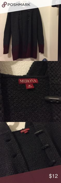 Dark grey and red cardigan Never used myself but handed down from my grandma. But in great condition :) Merona Sweaters Cardigans