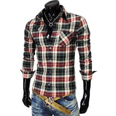 Mens casual checked shirt... if only I could talk my husband into wearing these! He would look really good in it!