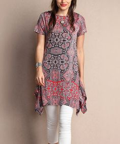 Look what I found on #zulily! Pink Paisley Short-Sleeve Handkerchief Tunic - Plus #zulilyfinds