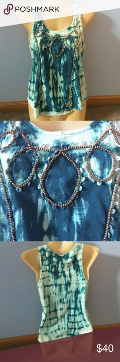 Free People Beaded Tank Teal tie dye tank with brown beaded detail. Worn twice but in great condition Free People Tops Tank Tops