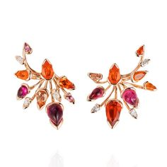 Bold ear cuffs are so now. These Bromelia rose gold earrings with fire opal, rubellite, imperial topaz and diamonds from Fernando Jorge's new Bloom collection (£31,120) are a summer colour pop you cannot miss. See more at: http://www.thejewelleryeditor.com/jewellery/viva-brazil-fernando-jorge-jewellery/ #jewelry #design