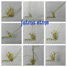 This Pin was discovered by gul Needle Tatting Patterns, Crochet Borders, Needle Lace, Lace Making, Crochet Trim, Crochet Flowers, Hand Embroidery, Needlework, Beaded Jewelry