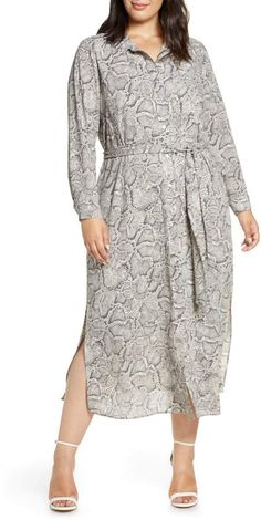 Plus Size Snake Skint Print Dress | 1.STATE Snake Print Long Sleeve Shirtdress