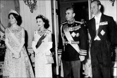The Queen Elizabeth II and the Prince Philip pose with Iran Shah Mohammad Reza Pahlavi and his wife empress Farah Pahlavi, Tehran 1961