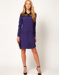 {shirt dress with lace top} It'd look better with a belt!