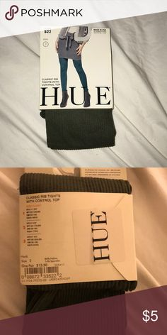 """HUE Classic Rib Tights with Control Top Color is described as """"herb"""". Made of 86% nylon and 14% spandex.  Size 2-fits between a height of 5'3""""-6'0"""". Weight between 120-170 lbs. HUE Accessories Hosiery & Socks"""