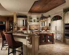 Gorgeous kitchen design. Love the ceiling and white cabinetry! #kitchendesigns www.HomeChannelTV.com