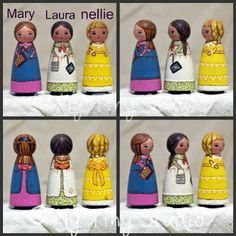 My tiny studio: 3 characters from Little house on the Prairie Doll Crafts, Diy Doll, Hobbies And Crafts, Crafts To Make, Wooden People, 3 Characters, Valley Of The Dolls, Clothespin Dolls, Doll Painting
