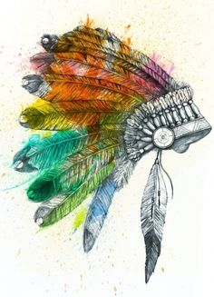 Colorful Indian Feathered War Bonnet (indian,feathered,war bonnet,colorful)